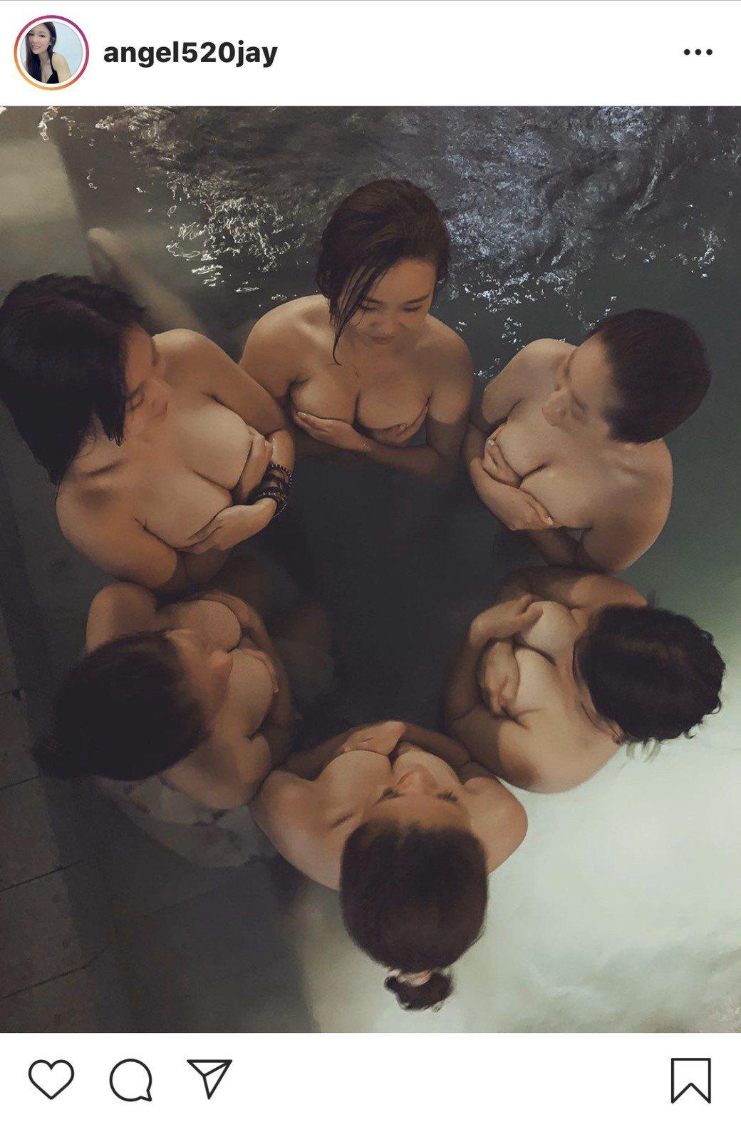 6名正妹全裸泡湯,畫面讓網友大噴鼻血。圖擷自娘娘IG