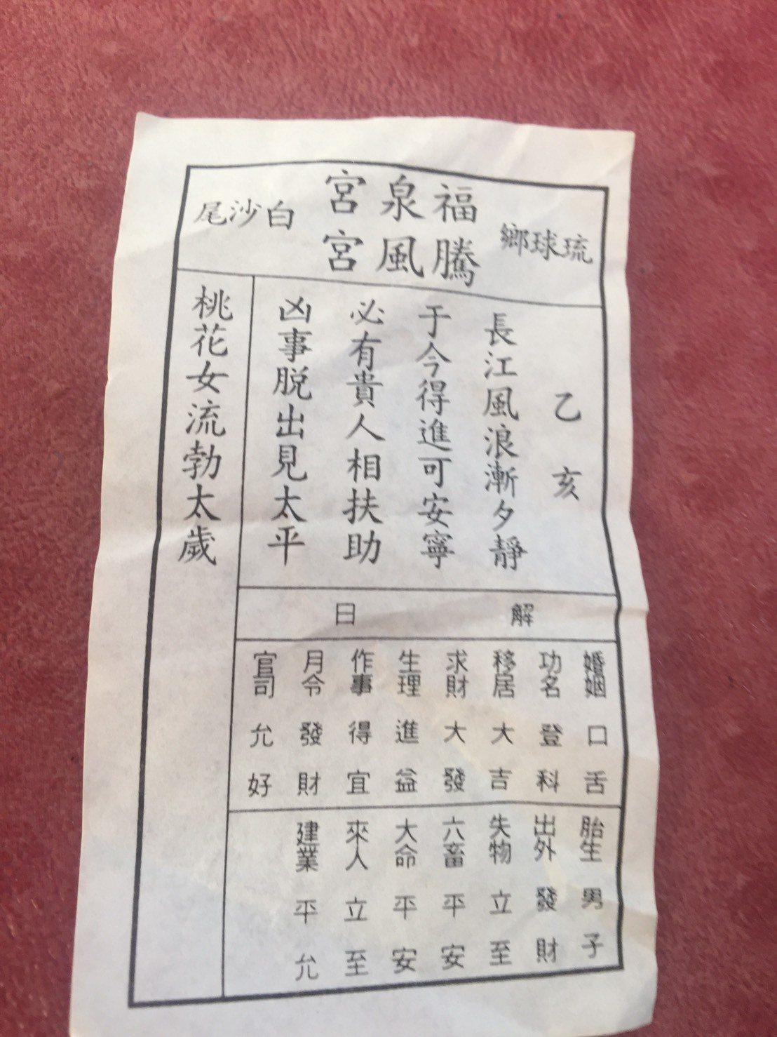 騰風宮主委、前琉球漁會總幹事黃枝福幫韓國瑜抽出上上籤。圖/讀者提供