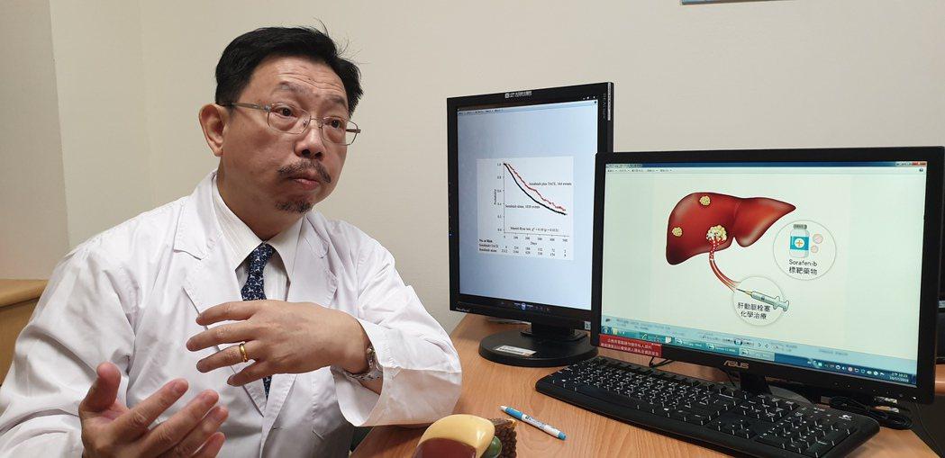 光田綜合醫院腫瘤科主任郭集慶,說明二種治療方式同時進行,提高存活率。記者游振昇/...