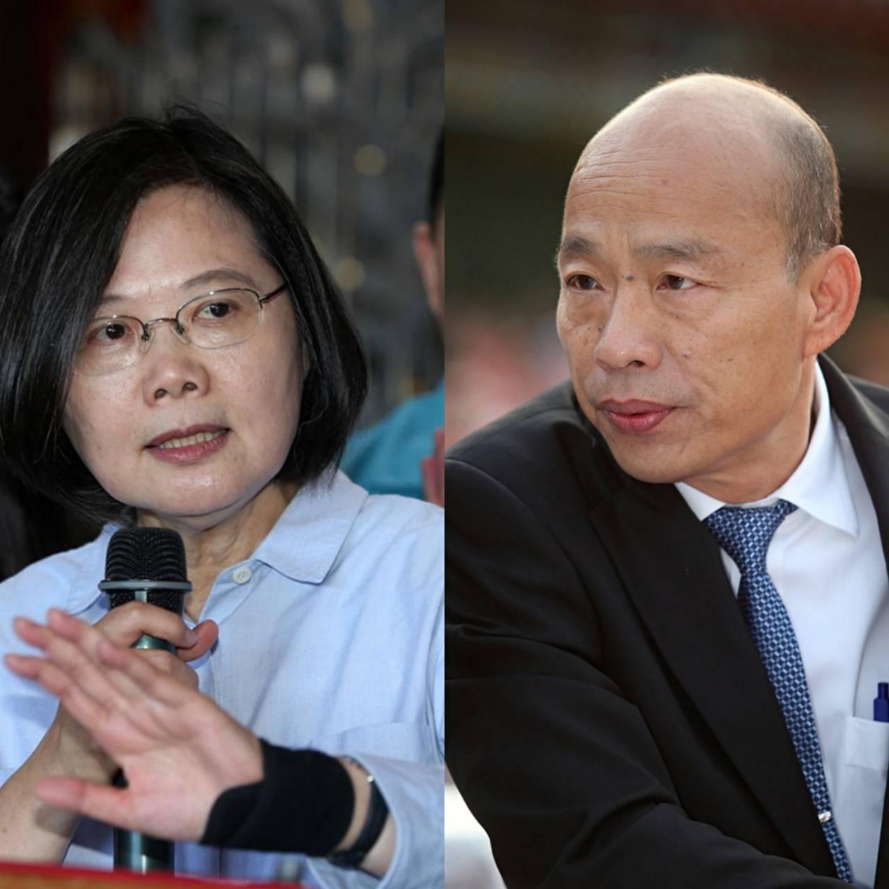 蔡英文總統(左)、國民黨總統參選人韓國瑜(右)。本報資料照合成