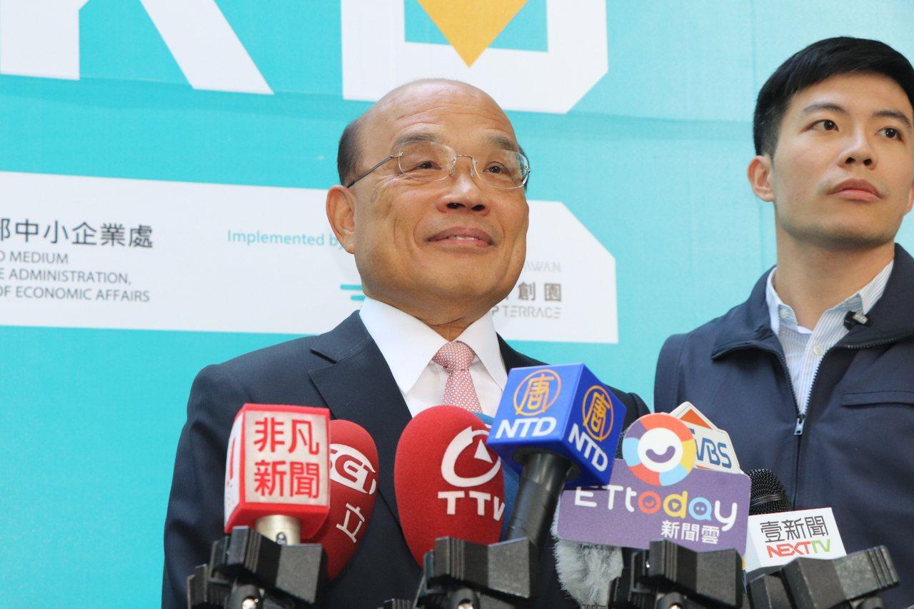 行政院長蘇貞昌今出席林口新創園啟動儀式時受訪。記者魏翊庭/攝影