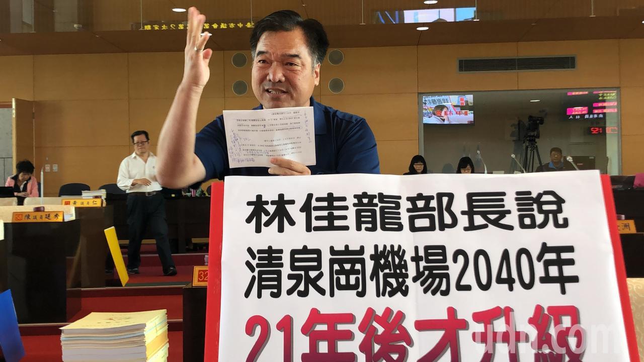 國民黨議員賴義鍠批交通部推台中機場21年後才完成升級。記者陳秋雲/攝影