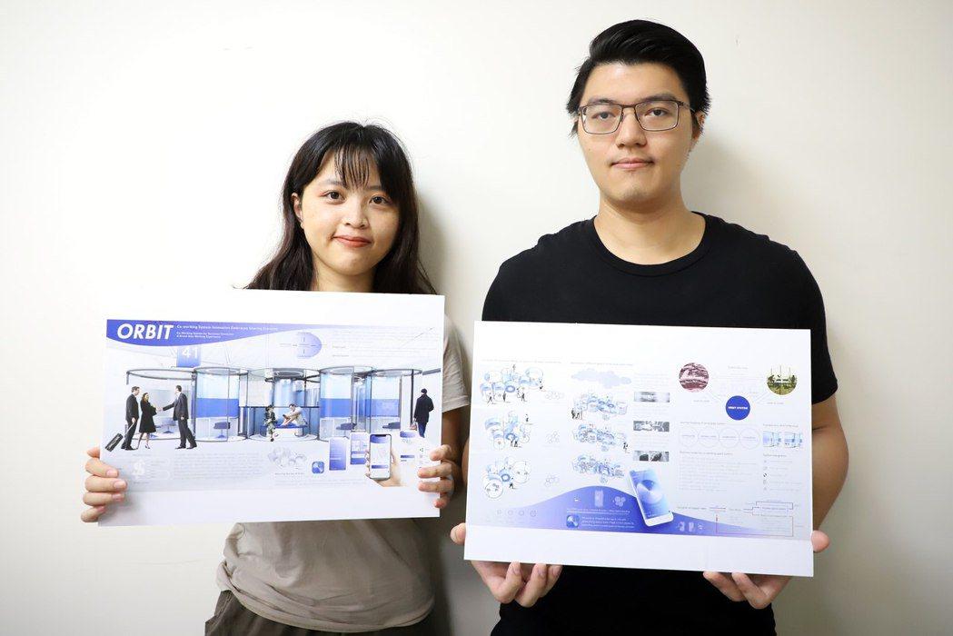 台科大建築系學生謝宗穎(右)、黃宣庭(左)提出「共享辦公空間系統」,在機場內規劃...