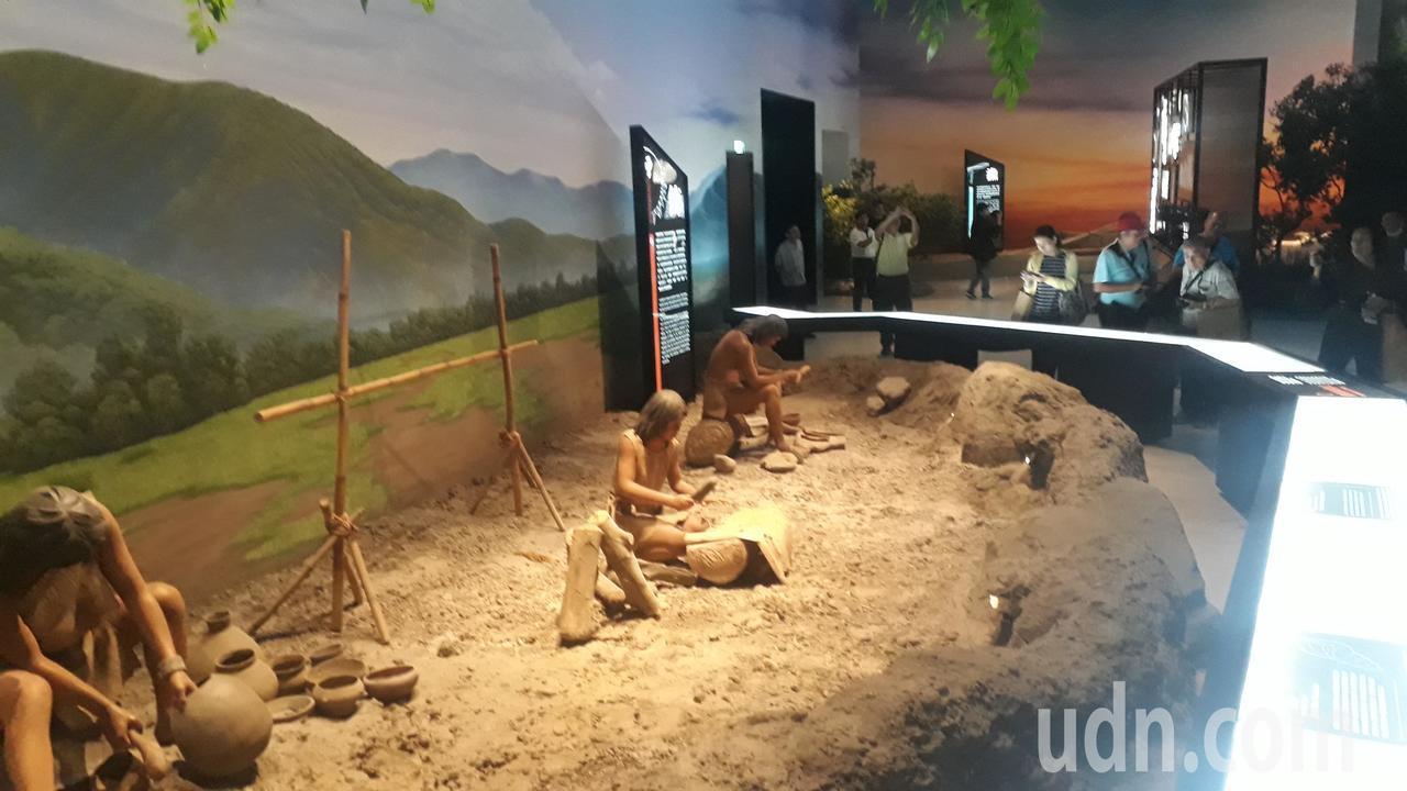 南科考古館模擬台南本地先民生活狀況。記者周宗禎/攝影