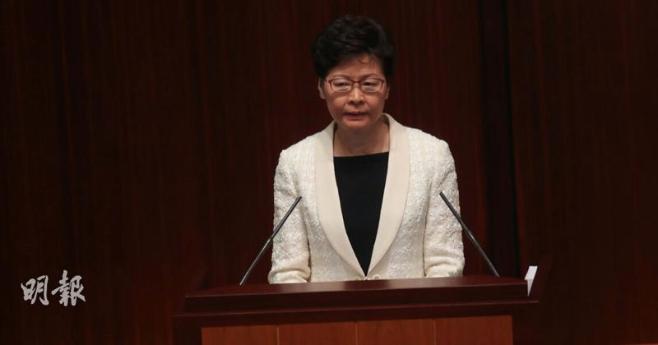 香港特首在立法會做施政報告,林鄭答問大會結束,在1.5小時會議中兩度暫停,僅回答3建制議員提問。(明報網)