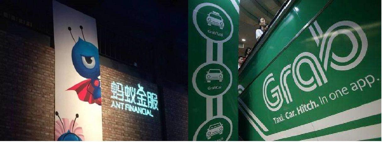 螞蟻金服(左)計畫和東南亞網約車巨頭Grab合(右)併行動支付業務。圖/搜狐財經