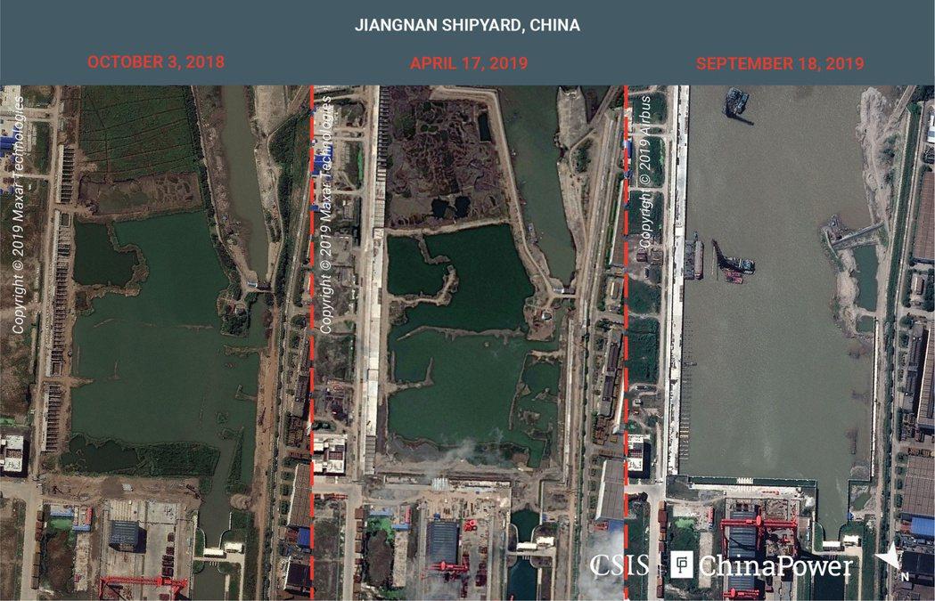 美國戰略與國際研究中心提供給路透的衛星組合照片,顯示過去一年來上海江南造船廠一艘...