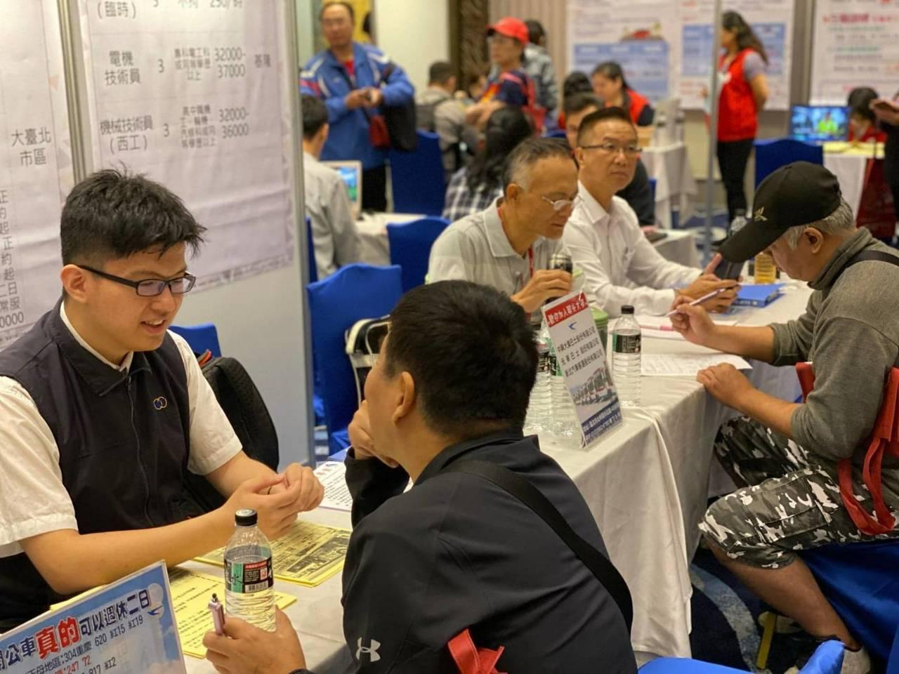 勞動部北分署基隆就業中心今天在基隆長榮桂冠酒店舉辦大型徵才活動,提供1千餘工作機...