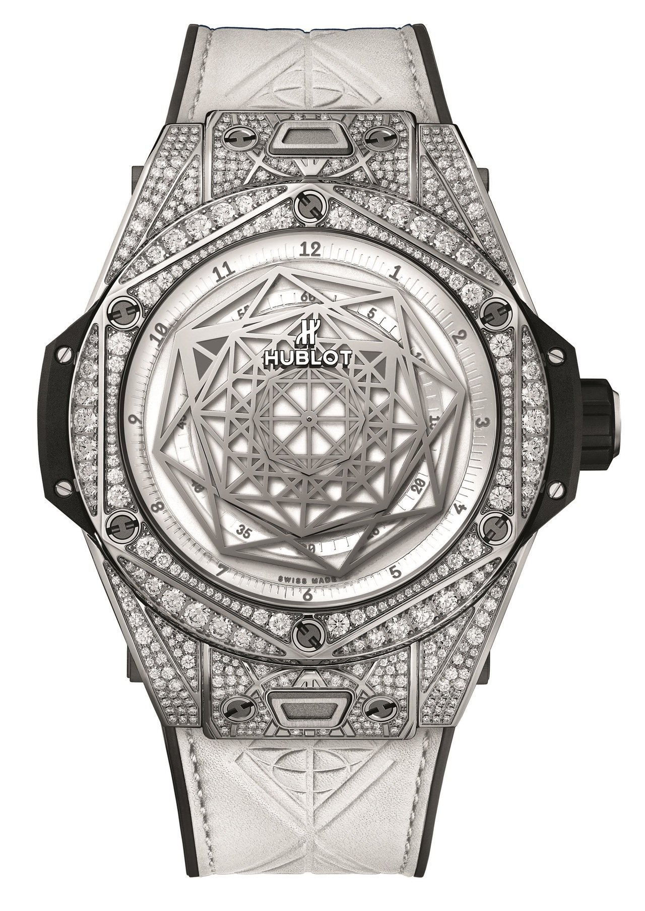 Big Bang Unico Sang Bleu白色滿鑽腕表,售價115萬8千元...