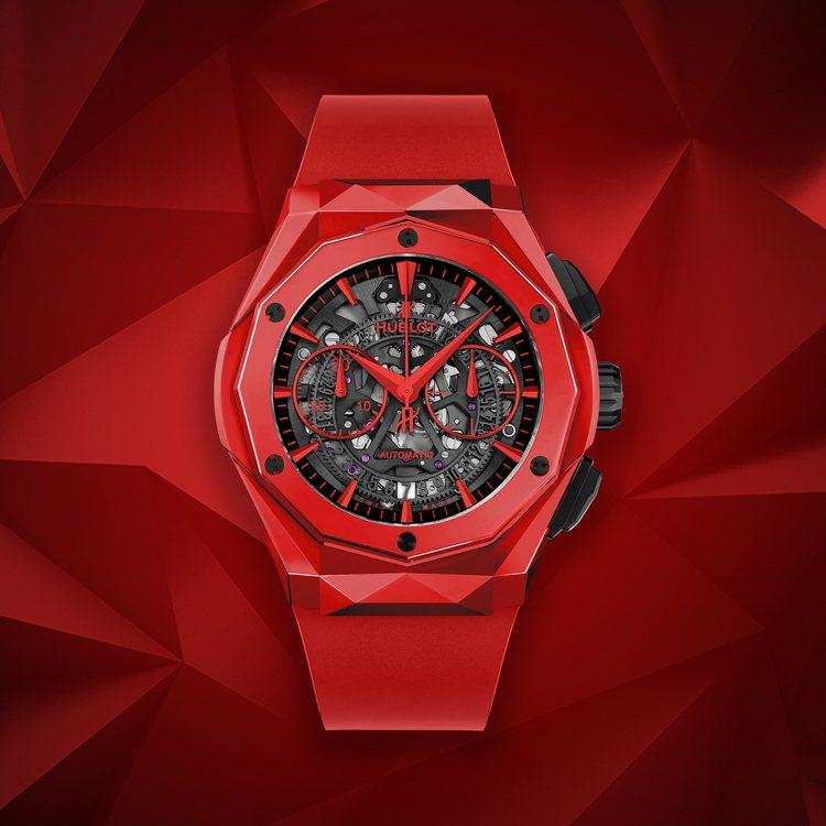 經典融合系列Orlinski紅色陶瓷計時碼表,售價74萬9千元。圖/HUBLOT...