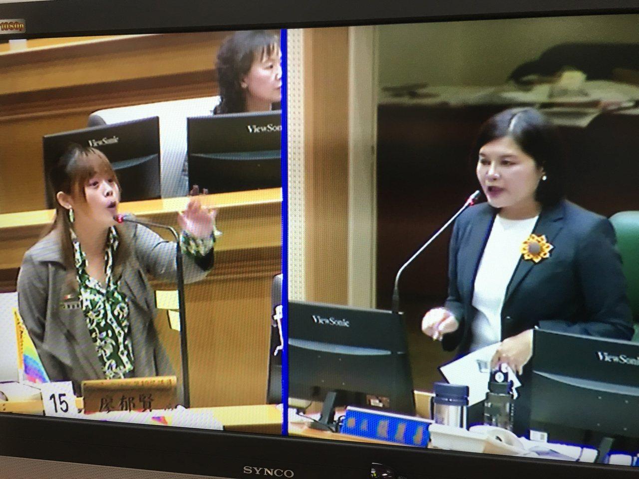 雲林縣長張麗善(右)昨天在議會進行施政報告,時代力量議員廖郁賢(左)提出多項問題...