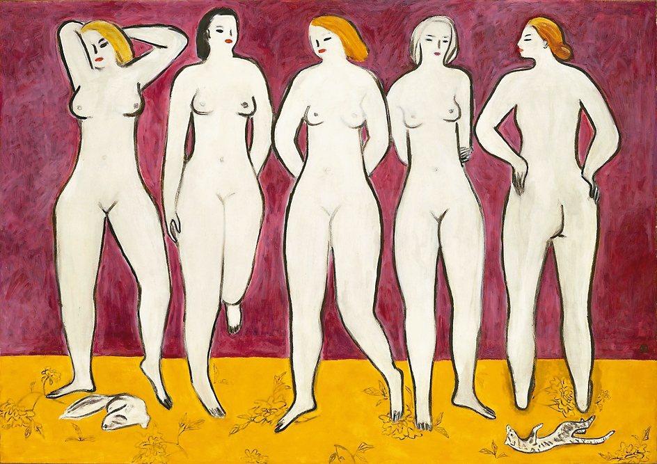 常玉尺幅最大的裸女油畫「五裸女」將於11月23日領銜香港佳士得秋拍。 香港佳士得...