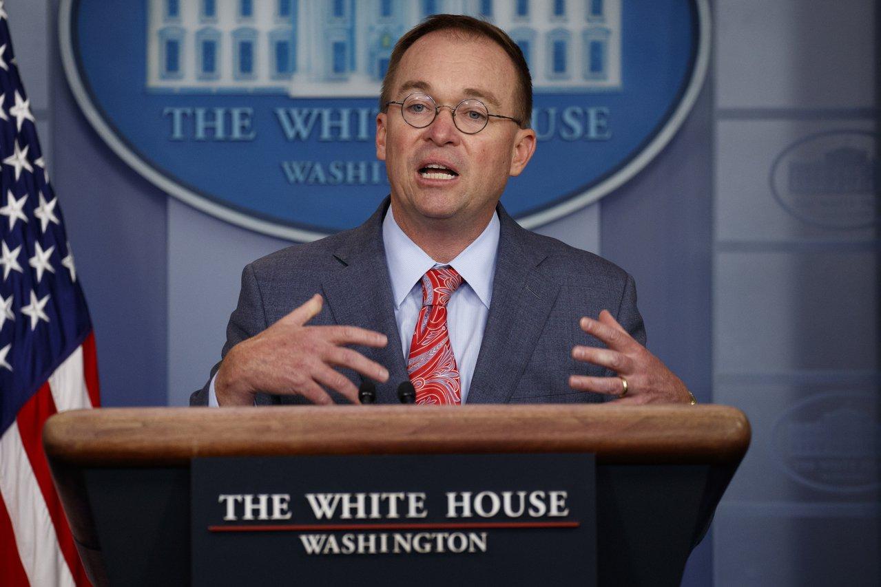 白宮代理幕僚長穆瓦尼一度承認援烏款項被扣押,以換取烏克蘭政府合作。 (美聯社)