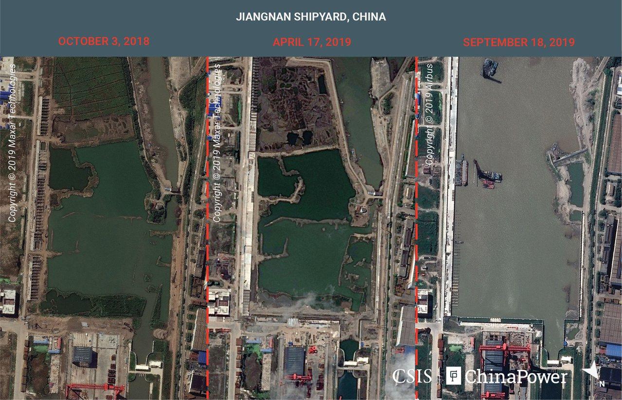 根據路透社報導,衛星影像顯示中國航母製造廠基建大幅擴充。 路透社