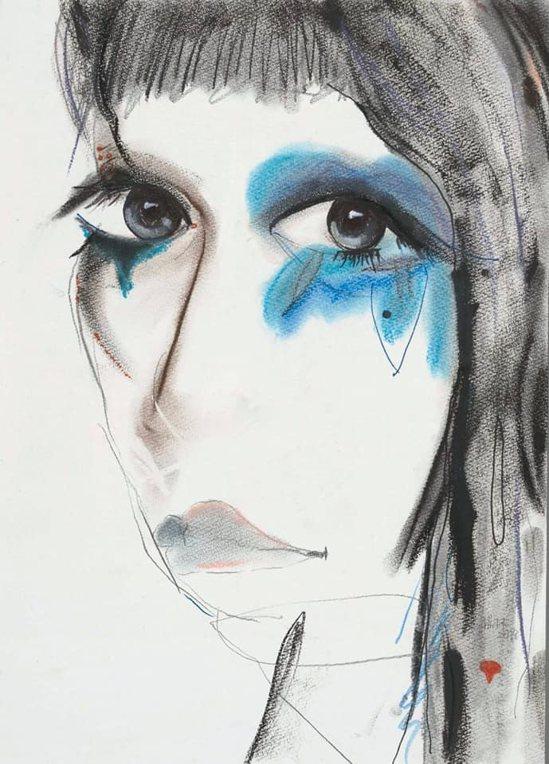 素描的自畫像中,同樣呈現楊林深邃的大眼睛,眼周有暈染開的色彩。(楊林提供)