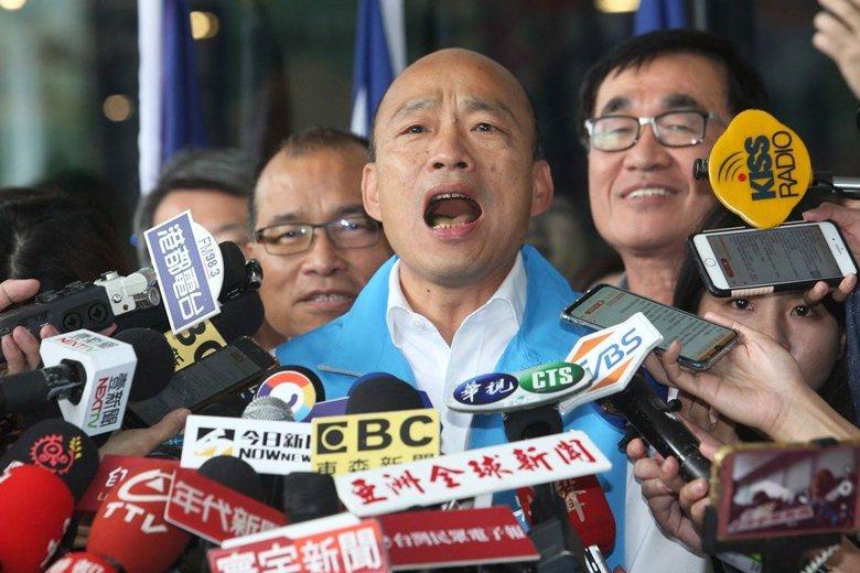 高雄市長韓國瑜16日宣布請假投入2020總統大選,並高唱「我現在要出征」。 圖/...