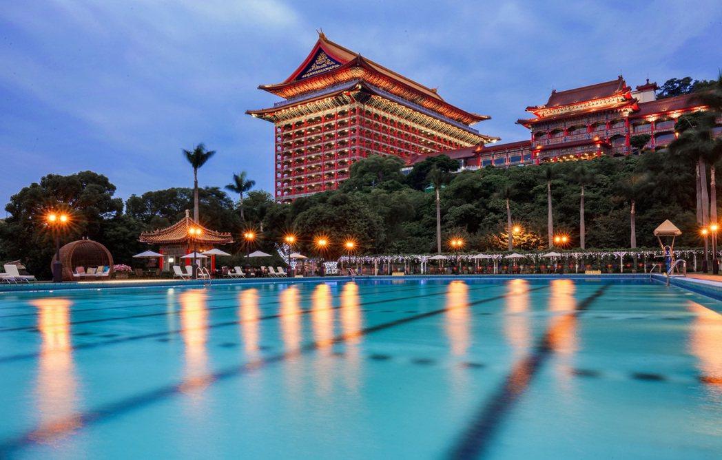 台北圓山戶外泳池。圓山大飯店/提供