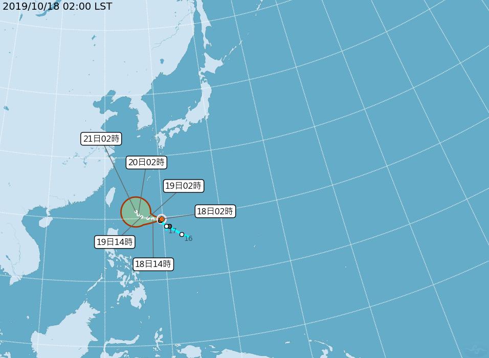 原位於菲律賓東方海面的熱帶性低氣壓已於18日2時發展為輕度颱風浣熊(國際命名NE...