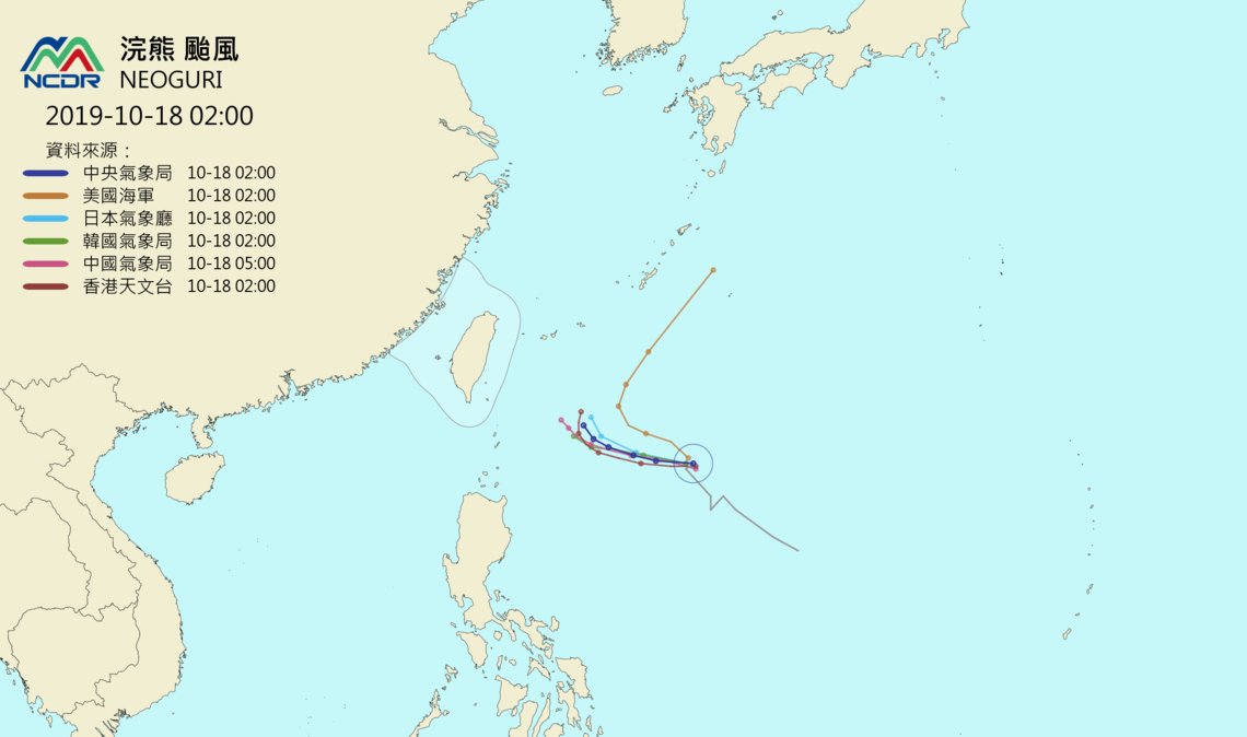 各國預測浣熊颱風路徑。圖/取自天氣與氣候監測網