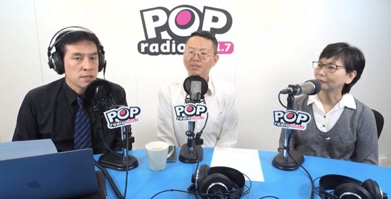 POP撞新聞主持人黃暐瀚,上午專訪北市府顧問蔡壁如、和民眾黨徵召的北市立委參選人徐立信(中)。圖/取自POP撞新聞