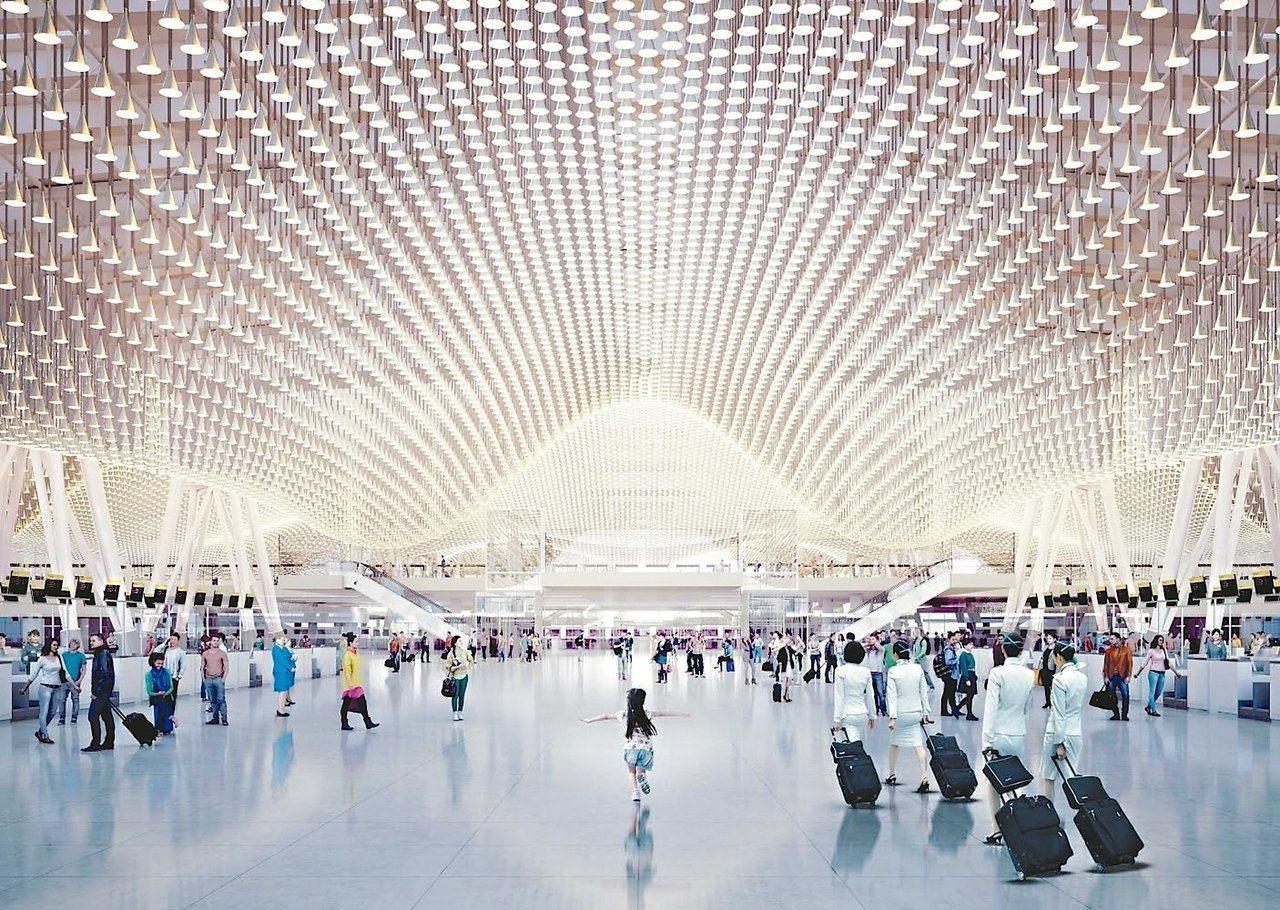 桃園機場擬更改第三航廈天花板設計,造成工程延宕。 圖/桃園機場公司提供