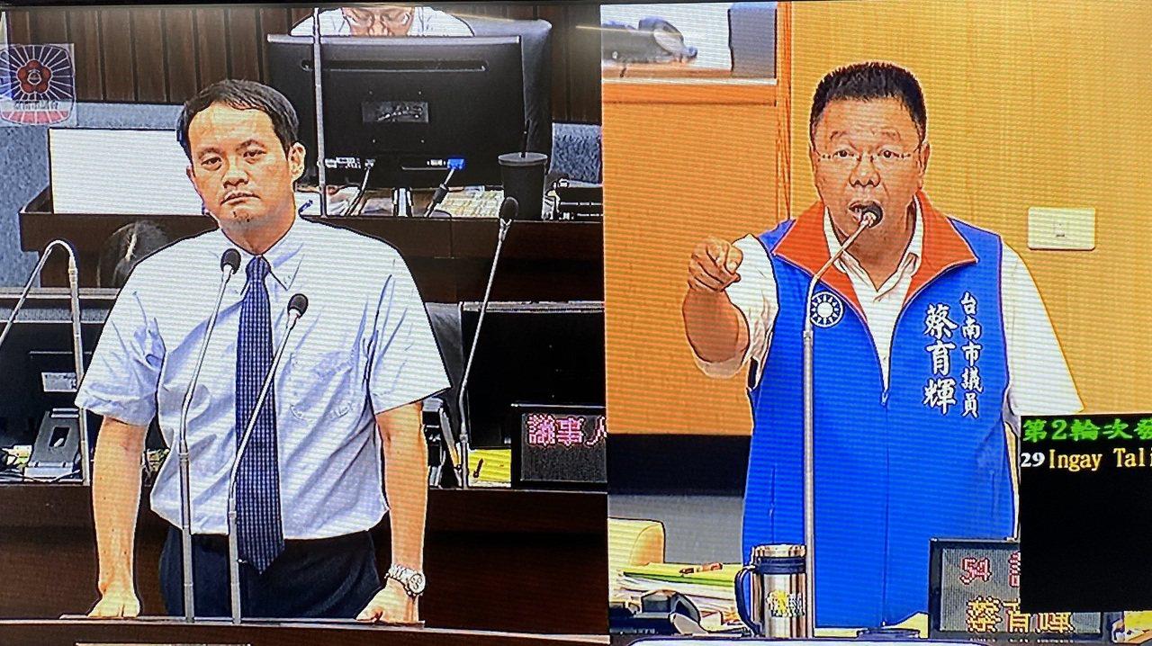 國民黨台南市議員蔡育輝(右)質詢中火空汙,遭環保局長林淵淙(左)「台中是你們國民...
