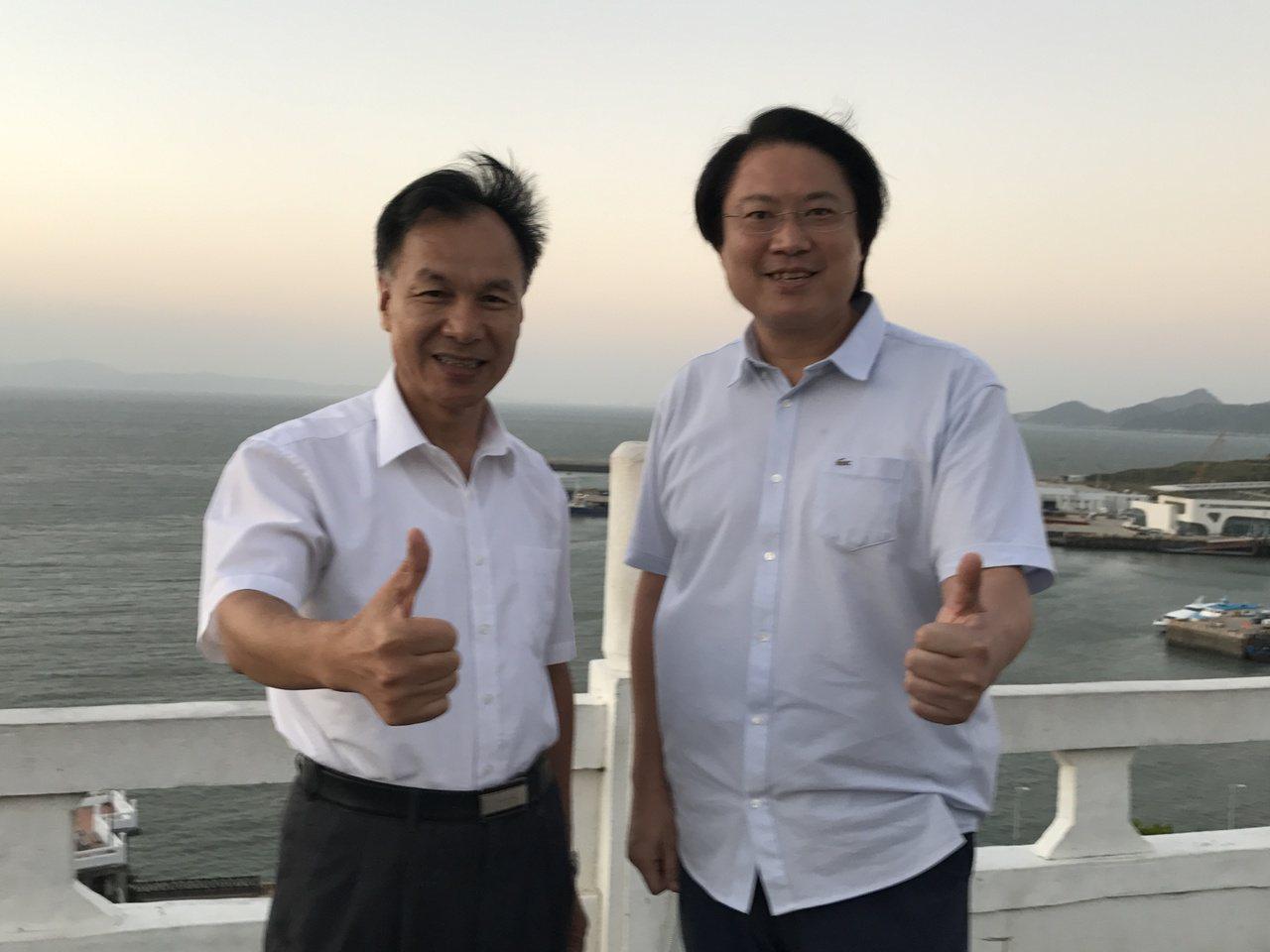 連江縣長劉增應,喜迎基隆市長林右昌到訪。記者吳淑君/攝影
