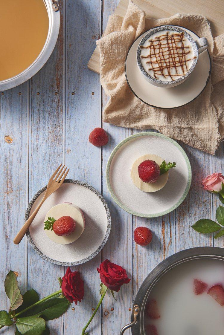 草莓起司牛奶湯與卡布奇諾味噌湯。圖/饗鮮海陸火鍋提供