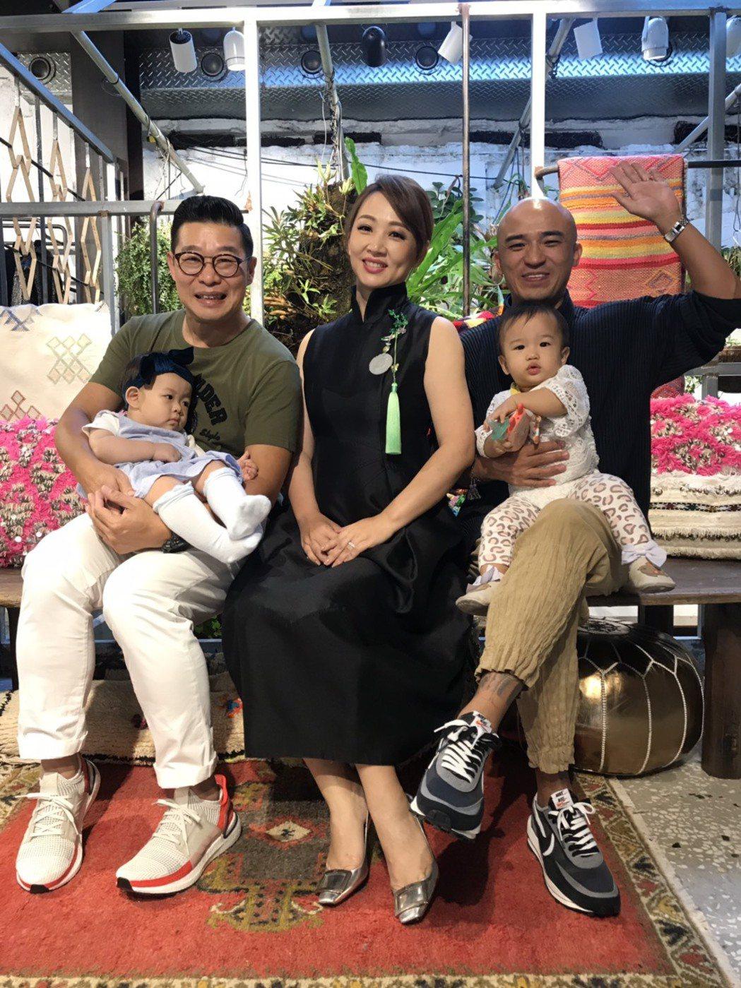 郁方(中)慶生做公益,馬力歐(左)、小馬都帶著女兒來共襄盛舉。記者葉君遠/攝影