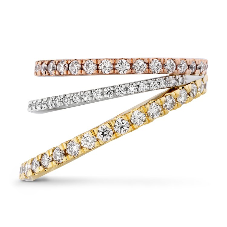 BRING THE DRAMA戒指,鉑金、玫瑰金、黃K金、鑽石、粉紅剛玉,售價2...