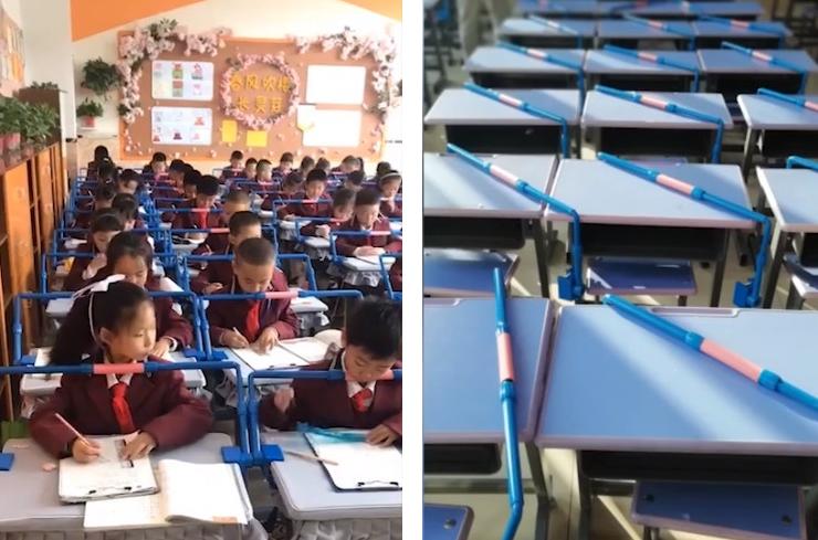 當學生頭部垂得過低時便會被擋住。圖/香港01提供