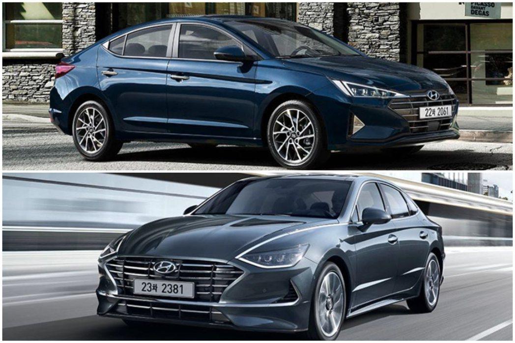 圖上為第六代Hyundai Elantra小改款式樣,圖下為今年上半年發表的大改...