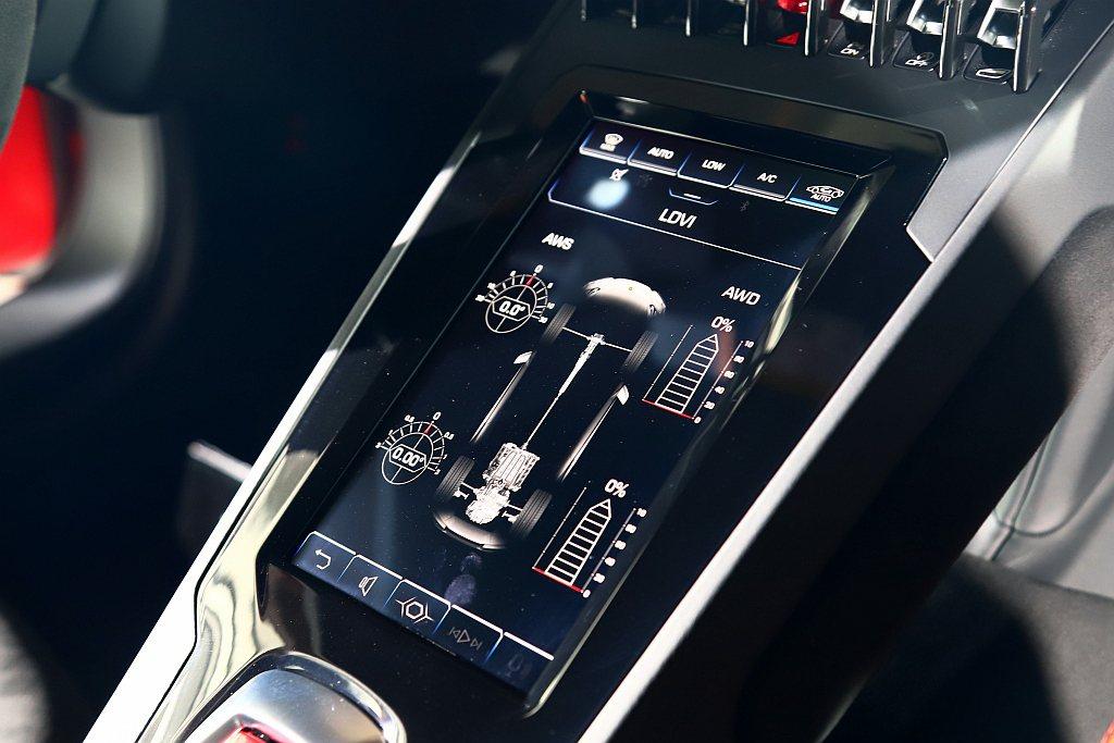 內裝新增8.4吋HMI多功能觸控式螢幕,可直接顯示LDVI車身動態整合系統當下狀...