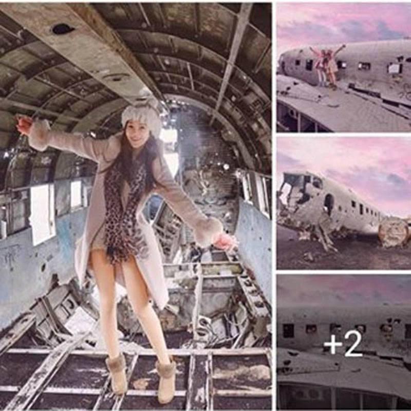 Livia不但進入殘骸內部,又跟友人站在飛機頂部擺pose拍照。圖翻攝自爆廢公社