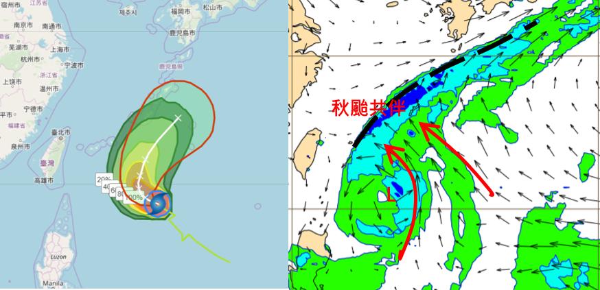 歐洲中期預報中心模式,模擬19日20時700百帕水氣場顯示(右圖),浣熊因秋颱效...