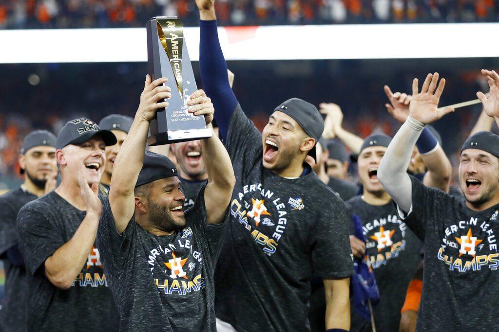 擊出再見轟的亞土維,理所當然獲選美聯冠軍賽MVP。 美聯社