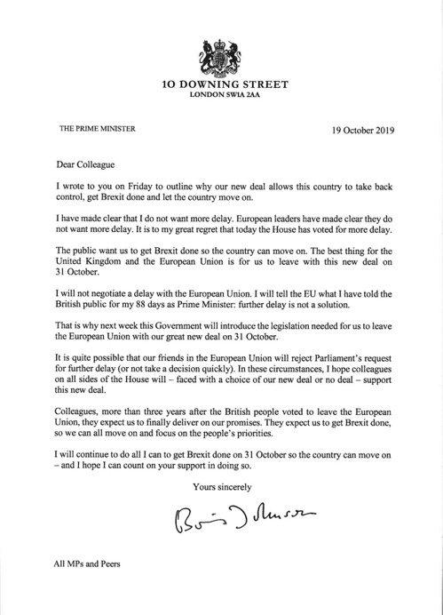 英國國會擱置英國首相強生(Boris Johnson)與歐盟談妥的「脫歐協議法案...