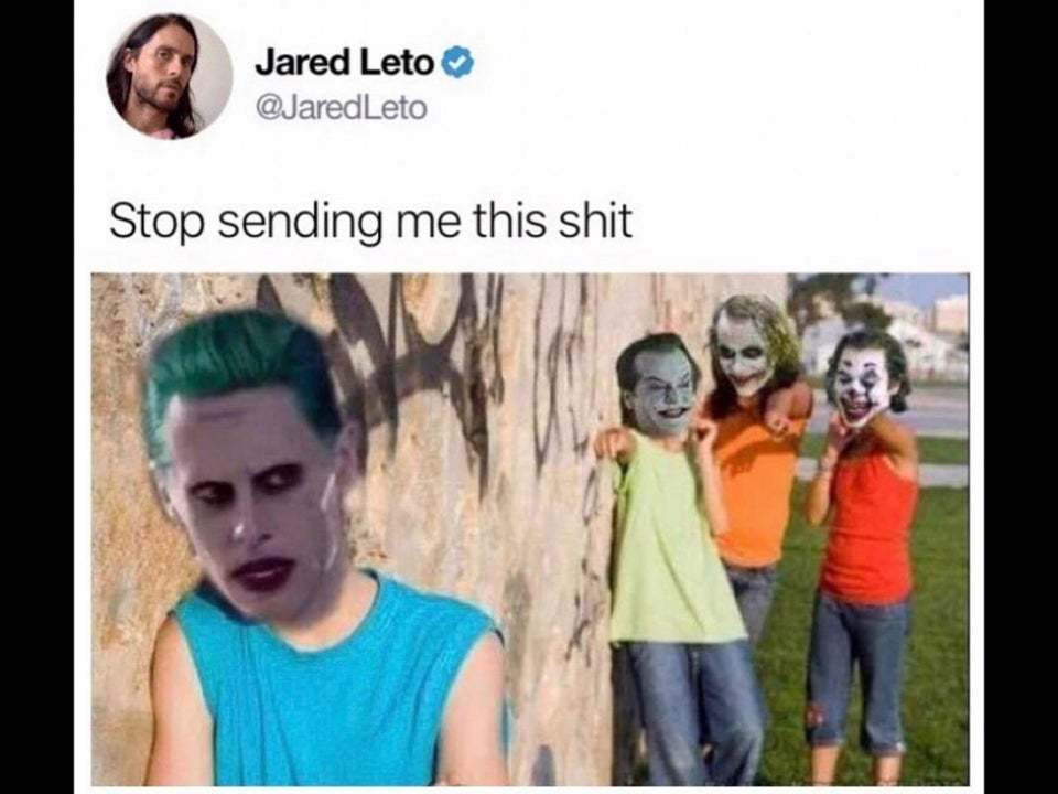 圖應為合成圖。圖中的推特帳號正是自殺突擊隊的小丑演員傑瑞德·雷托 圖:Reddi...