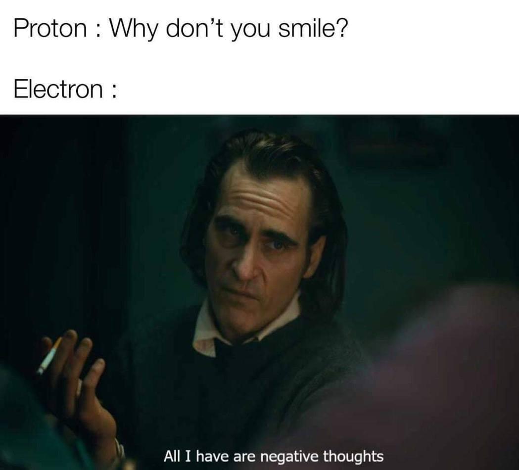 質子:為什麼你不笑? 電子:因為我滿腦子都是「負」面的想法 圖:FB@scien...