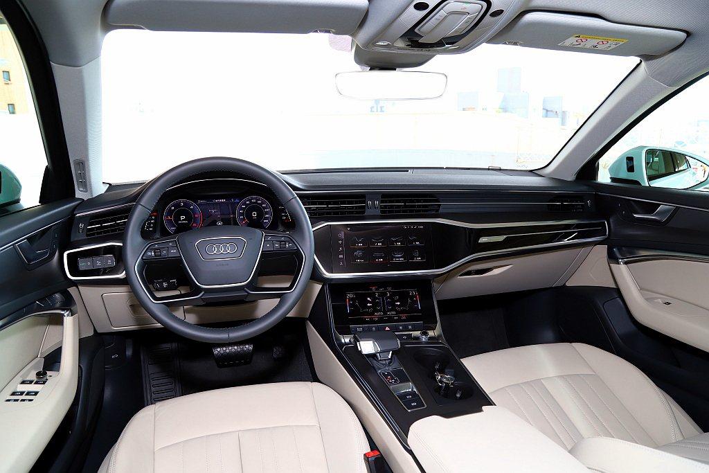 新世代Audi A6內裝以三大螢幕匹配鋒利的線條,營造出濃郁的未來感。 記者張振...