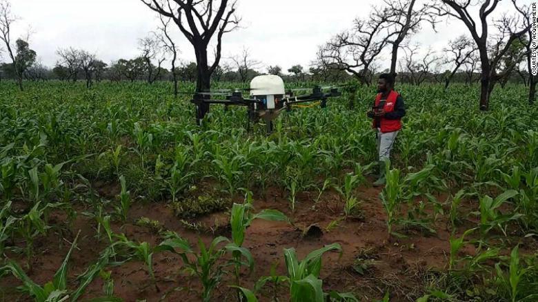 迦納農夫利用無人機科技改善農作效率。(photo by 網路截圖)