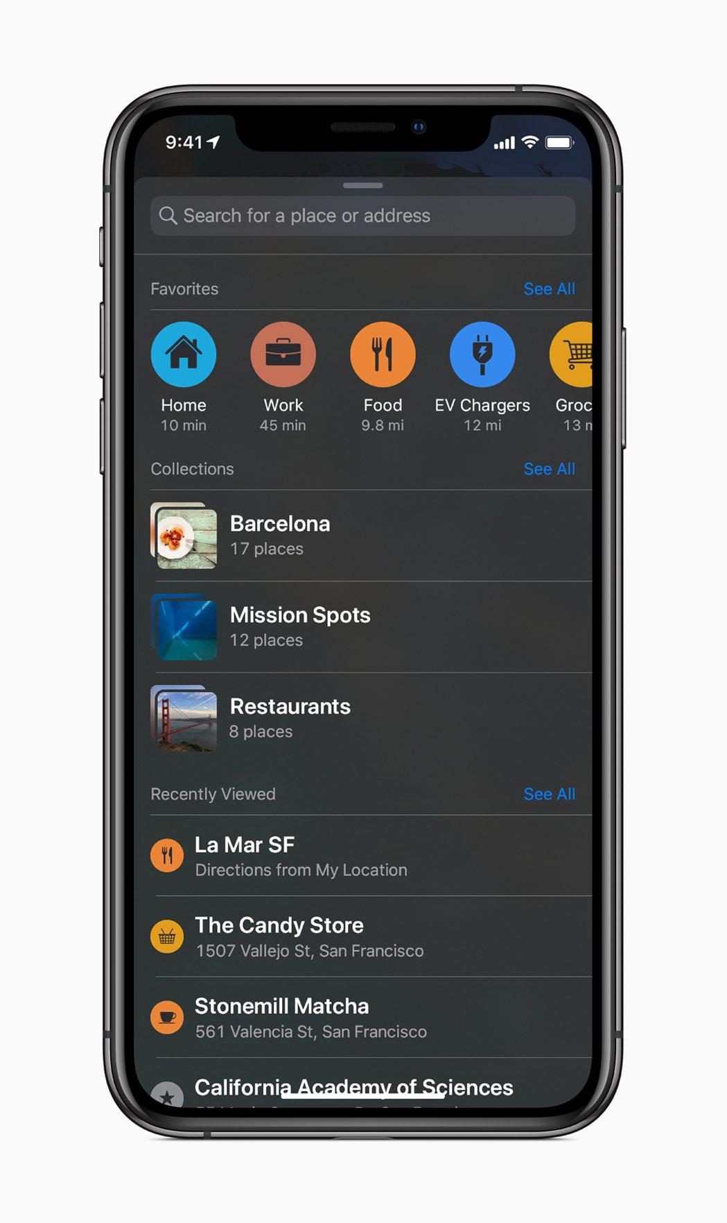 快速點選「Favorites喜好地點」功能,就可快速導航至常用地點。圖/蘋果提供