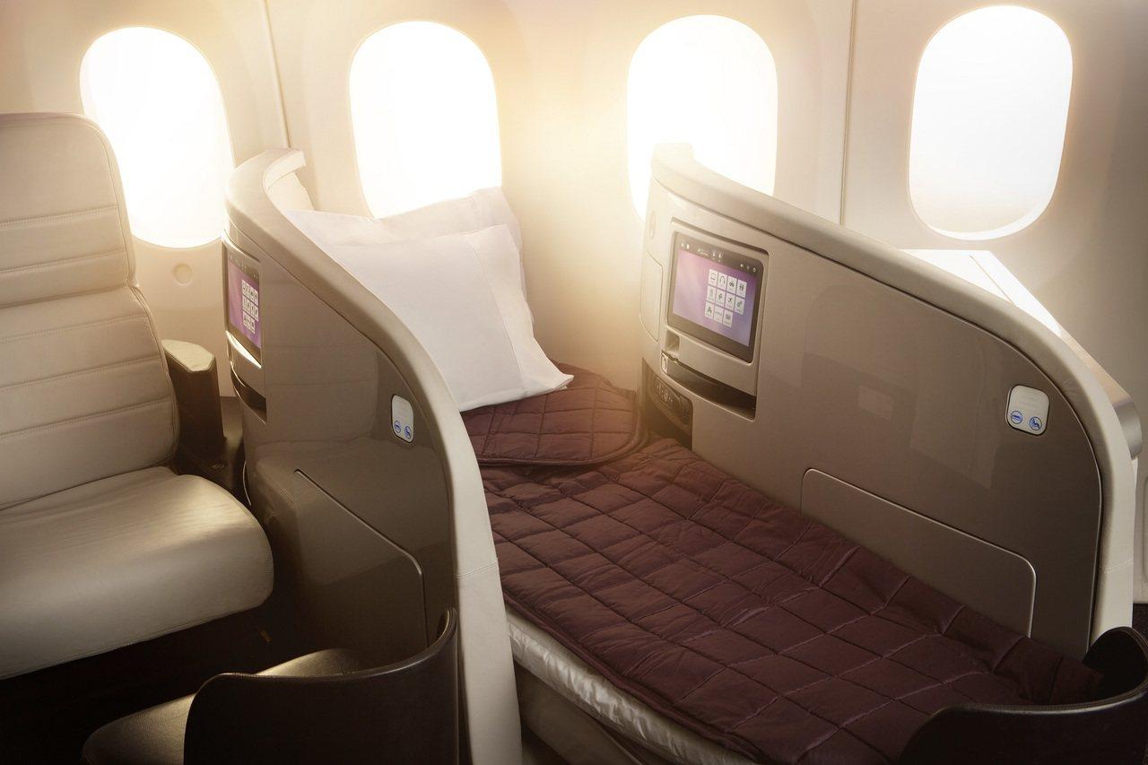 紐西蘭航空可完全平躺的豪華商務艙座椅。圖/紐西蘭航空提供