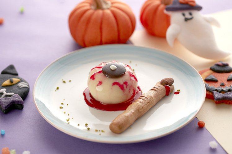 台北喜來登比薩屋的白巧克力眼球慕斯。圖/台北喜來登提供
