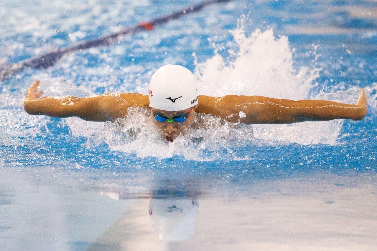 108年全運會游泳男子400公尺混合式決賽,台中市選手王星皓破大會紀錄。記者季相...