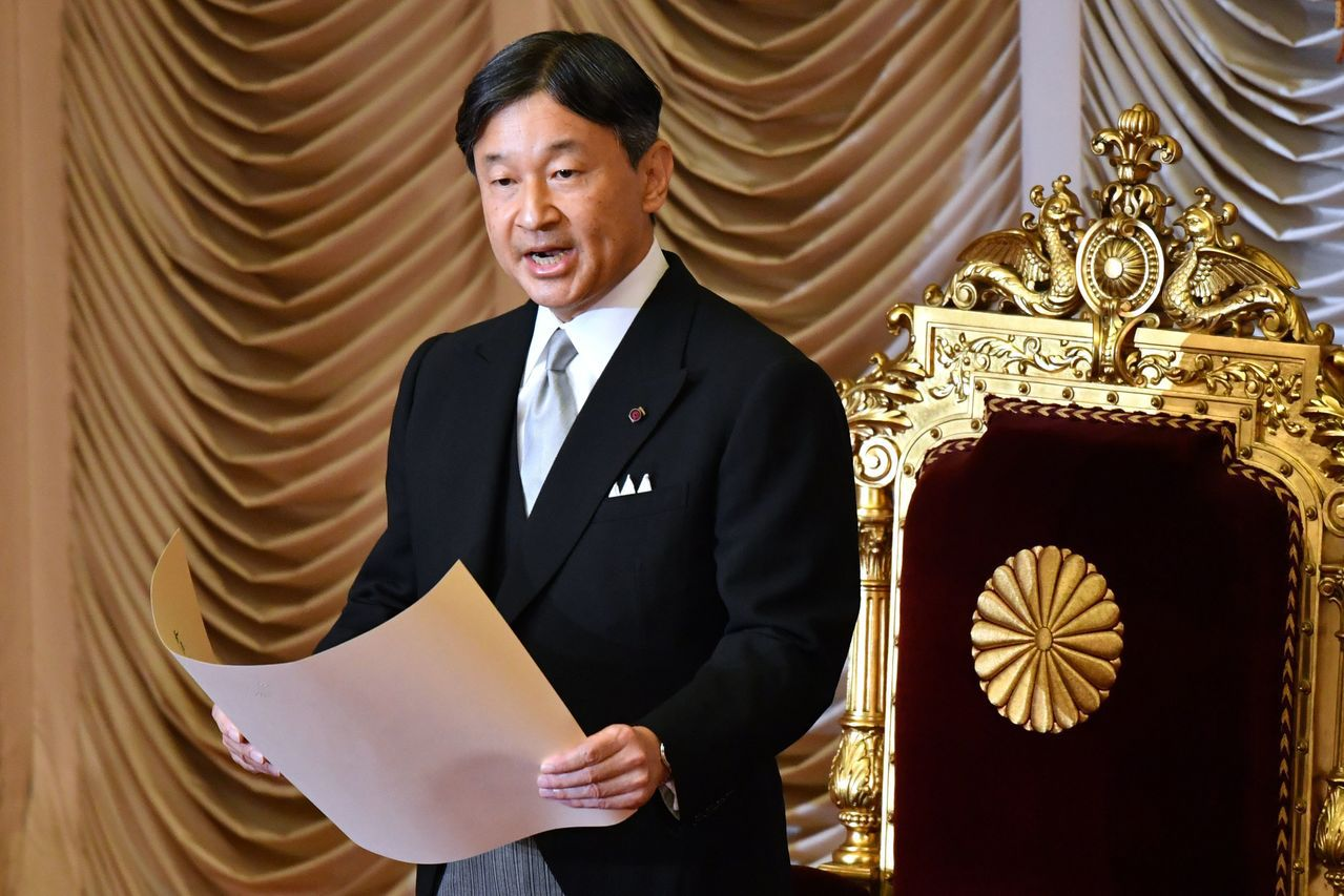 日皇德仁4日在國會特別會議開議儀式上致詞。(法新社)