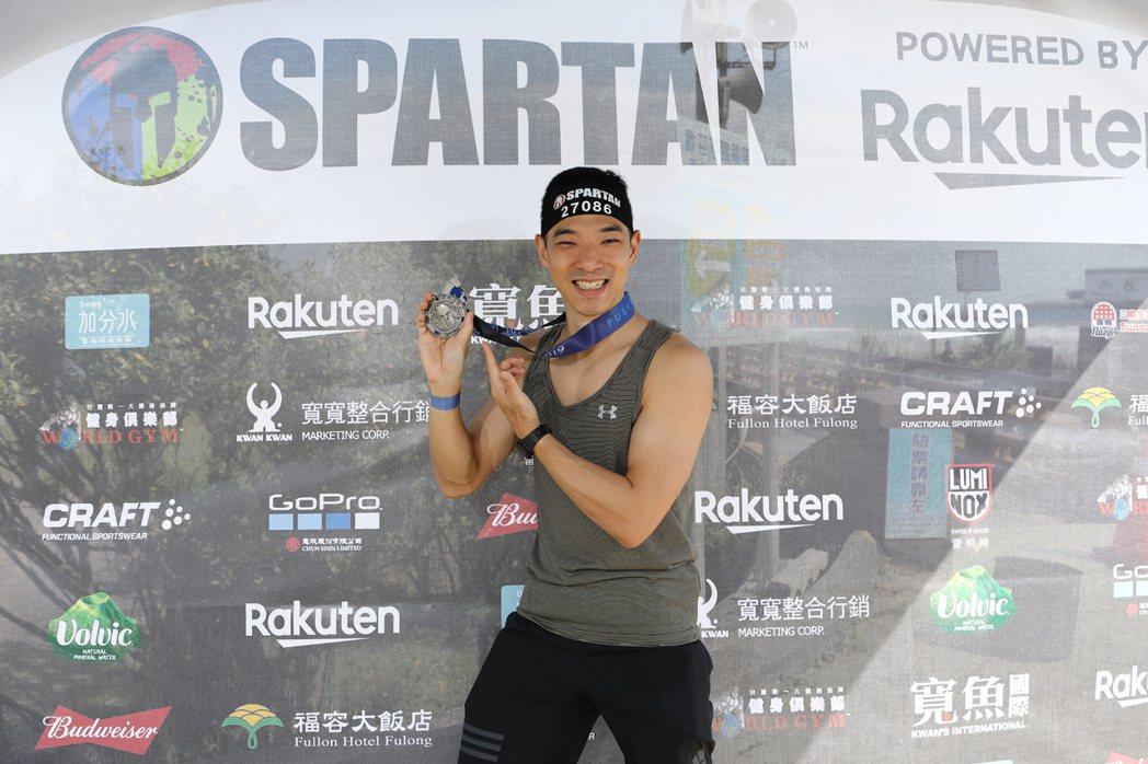 王大文3度參加「Spartan Race斯巴達障礙跑競賽」。圖/寬魚國際、寬寬提