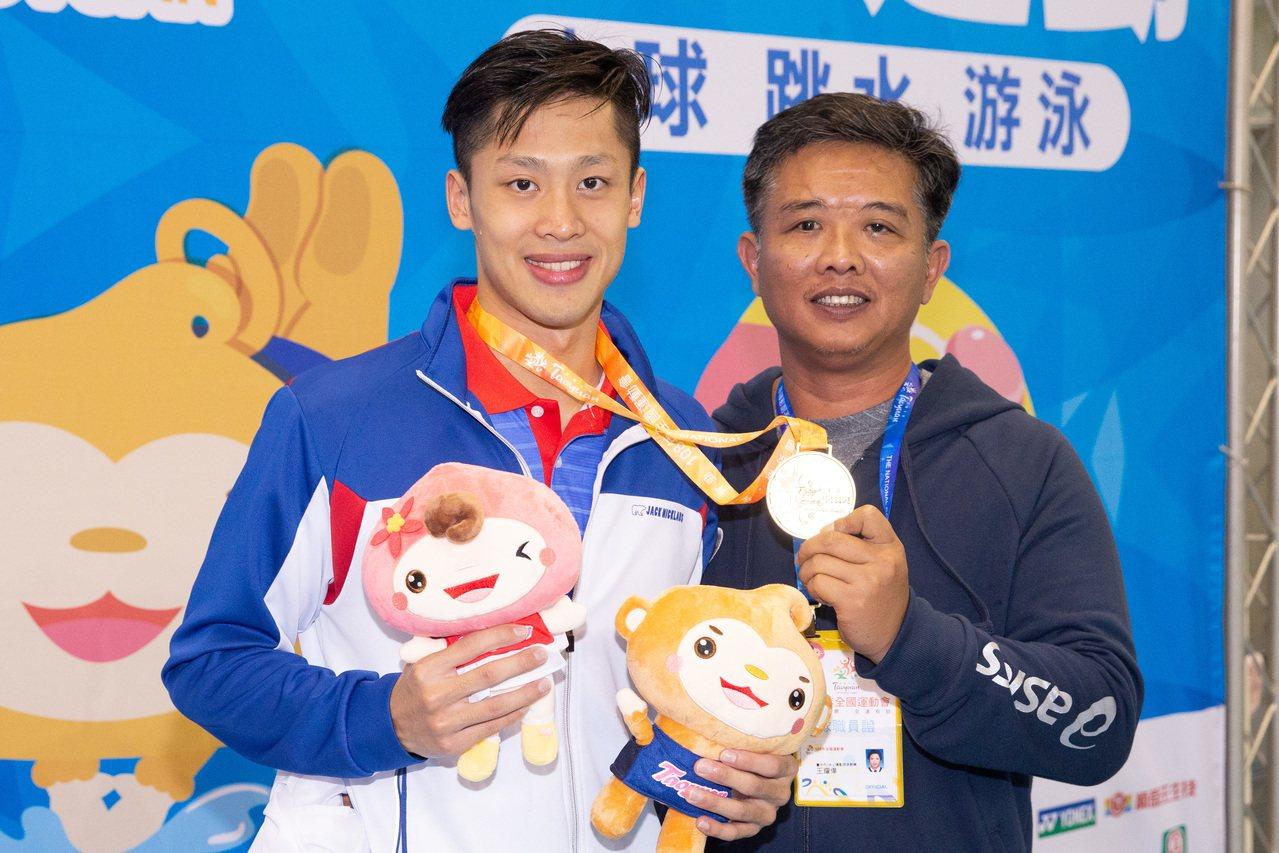 蔡秉融(左)和教練王耀偉。記者季相儒/攝影