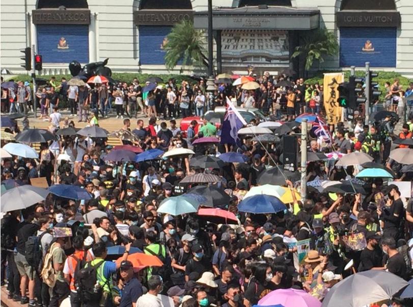 香港民陣副召集人陳皓桓稱,周日至少35萬人參與九龍區遊行。(星島網)