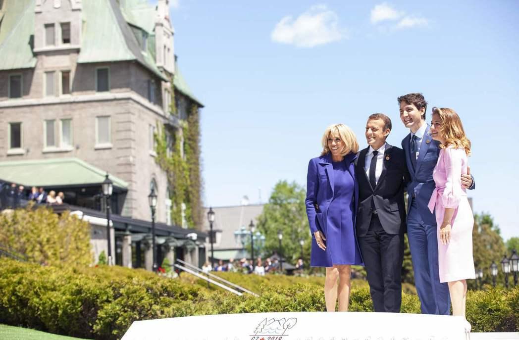 加拿大總理杜魯多去年在風景優美的魁北克小鎮拉馬拜爾主持G7峰會。(法新社)